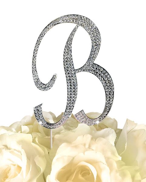 Rhinestone Cake Topper - Sparkling Letter B - Large - Silver