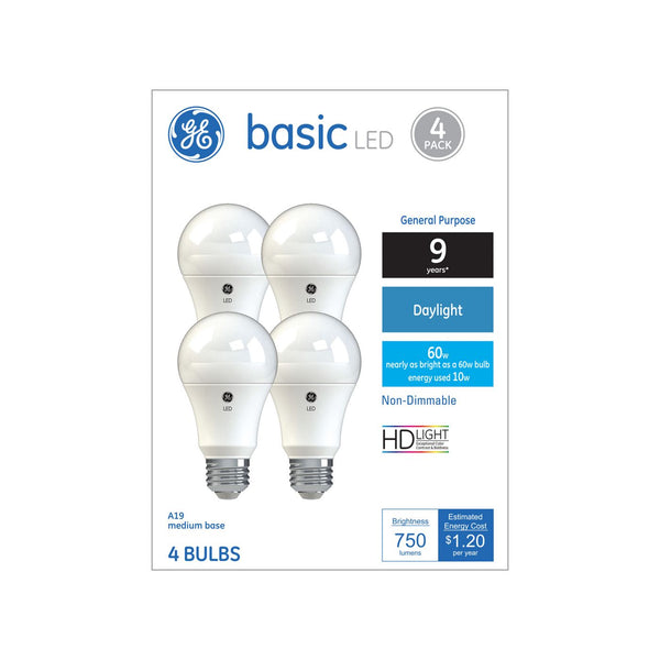 General Electric 4pk 60W Ca Basic LED Light Bulb Daylight Non Dimming Reg Life