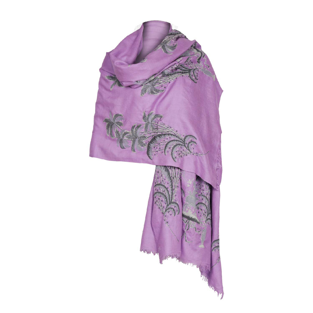 Purple Exotic Palm Pashmina
