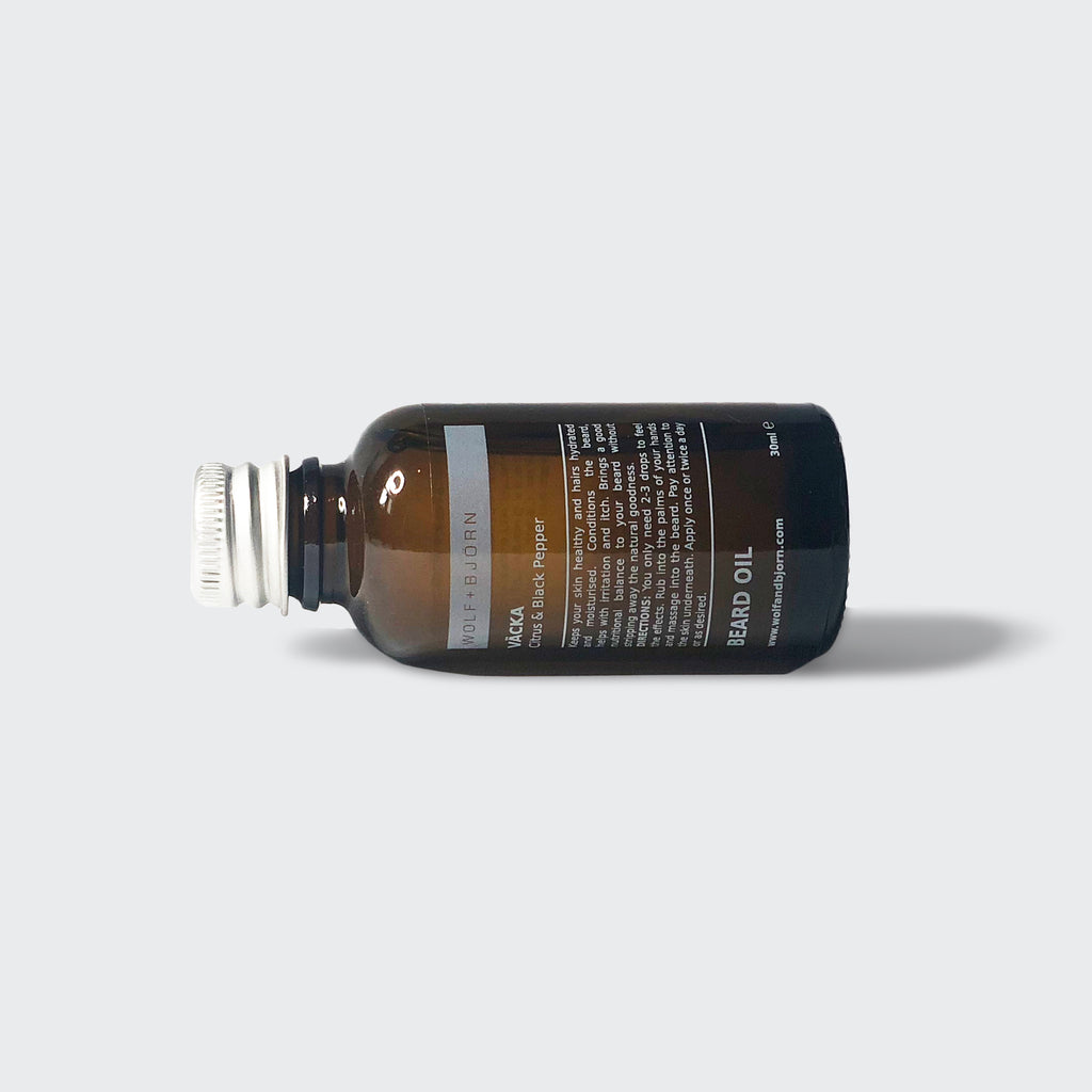 Beard Oil for men by Wolf+Björn. A selection of unique formulations, woody, earthy, spicy and sweet. Nourish and soften your beard. Reduce beard itch, moisturise and hydrate the skin. Vitamin Rich. Beard Gift sets available. Essential control.