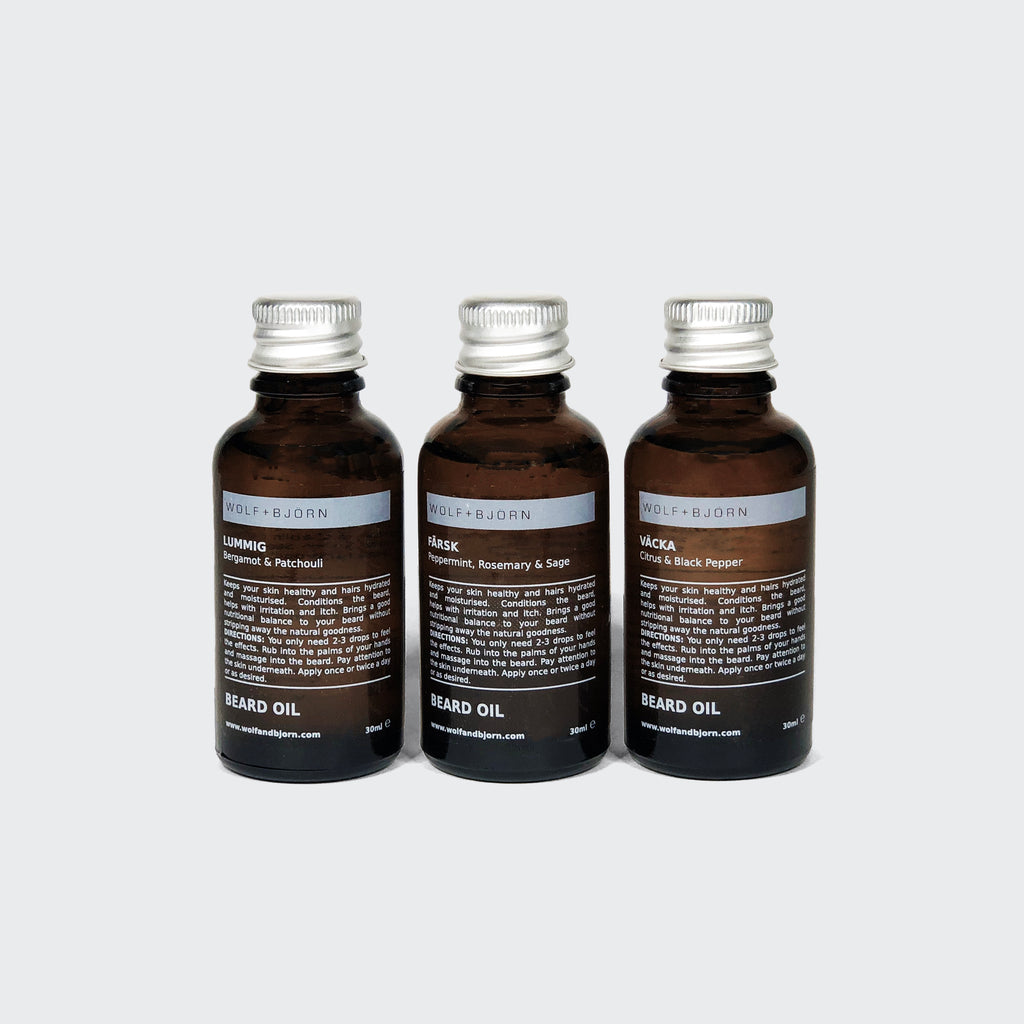 Beard oil set for men by Wolf+Björn. Each gift set includes 3 x small batch, hand poured beard oils. Three unique scents for a softer and healthier beard. Beard gift set for the bearded man. Essential control with our range of scents.