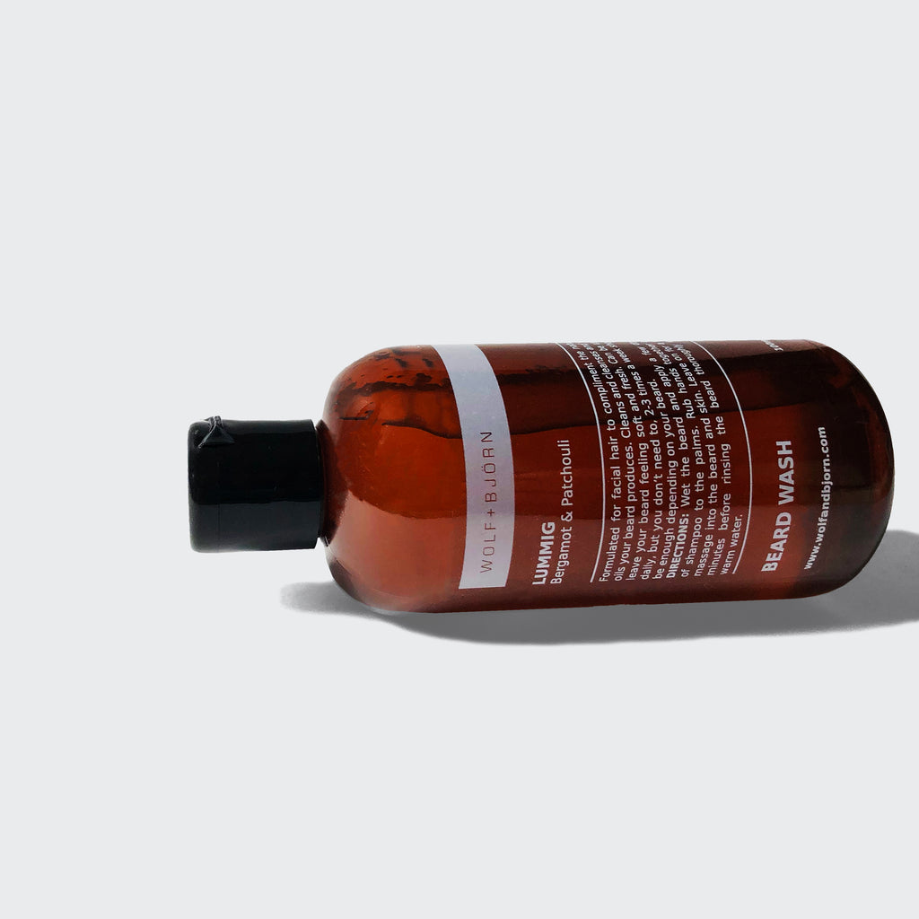 Beard Wash for men by Wolf+Björn. Our beard shampoo locks in moisture and will leave you feeling smooth and clean. Available in a range of flavours. Part of range of beard products for essential control.