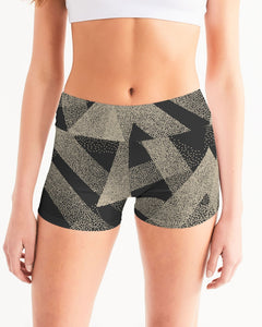 Abstract Print Women's Mid-Rise Yoga Shorts