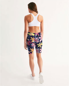 Floral Print Women's Mid-Rise Bike Shorts