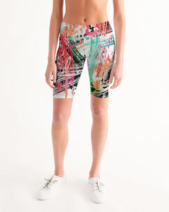 Abstract Print Women's Mid-Rise Bike Shorts