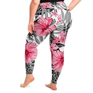 Tropical Floral Print Plus Size Leggings