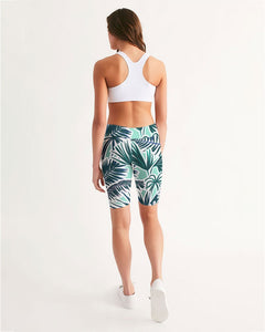Tropical Floral Print Women's Mid-Rise Bike Shorts
