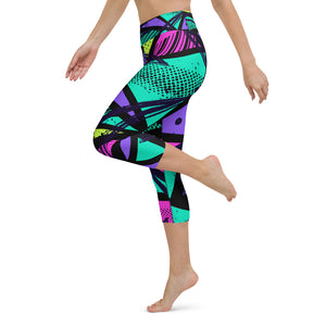 80s Retro Print Yoga Capri Leggings