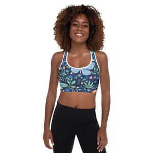 Floral Butterfly Print Padded Sports Bra