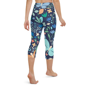 Floral Butterfly Print Yoga Capri Leggings