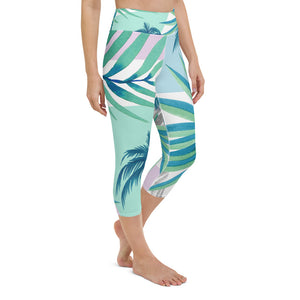 Tropical Floral Print Yoga Capri Leggings