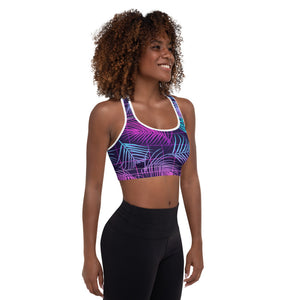 Tropical Floral Print Padded Sports Bra