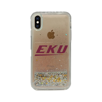 Eastern Kentucky University V2 Clear Glitter Shell Phone Case, Classic V1 - iPhone X/Xs