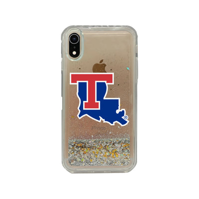 Louisiana Tech University Clear Glitter Shell Phone Case, Classic V2 - iPhone Xr