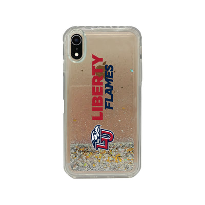 Liberty University Clear Glitter Shell Phone Case, Classic V2 - iPhone Xr