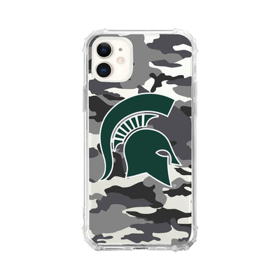 Michigan State University V2 Clear Tough Edge Phone Case, Camo V1 - iPhone 11