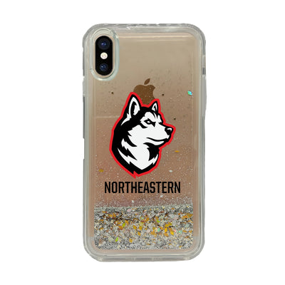 Northeastern University V3 Clear Glitter Shell Phone Case, Classic V1 - iPhone Xr