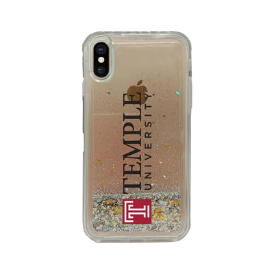 Temple University Clear Glitter Shell Phone Case, Classic V1 - iPhone X/Xs