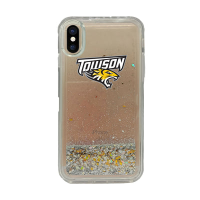 Towson University V2 Clear Glitter Shell Phone Case, Classic V1 - iPhone X/Xs