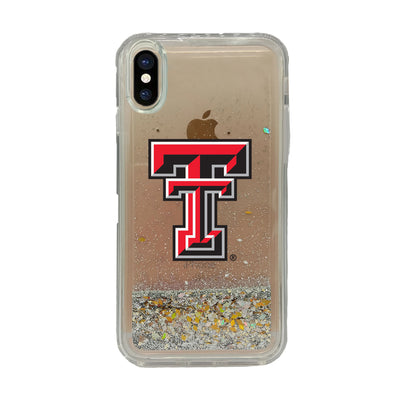 Texas Tech University Clear Glitter Shell Phone Case, Classic V1 - iPhone X/Xs