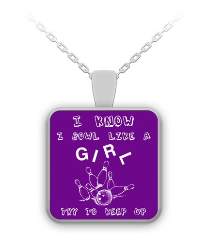 Bowl Like A Girl Purple Necklace