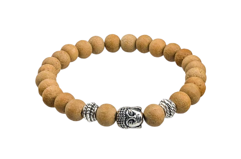 CMEI Stretchable Natural Sandalwood Bracelet Healing 8mm Beads and Metal Rings Women Men Girls Birthday Gifts (Unisex)