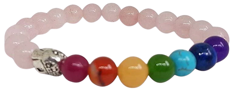 Stretchable 7 Chakra Rose Quartz Bracelet