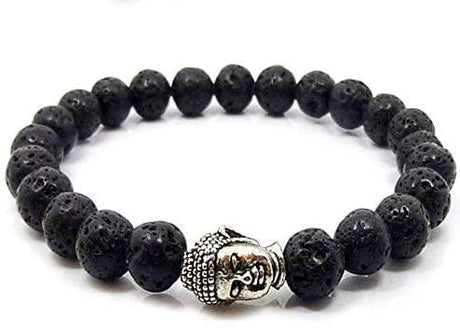 CMEI Natural Stone Black Lava Prayer Diffuser Stretchable Bracelet