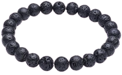 CMEI Natural Stone Black Lava Diffuser Stretchable Bracelet