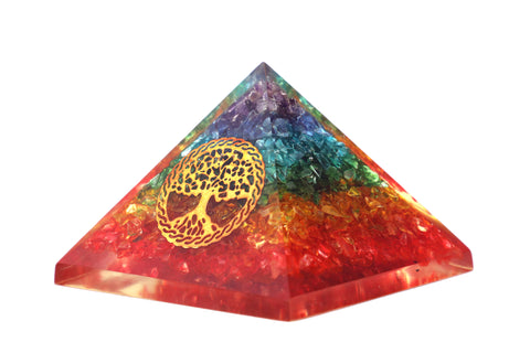 Orgone Red Pyramid – Emf Protection Rainbow Pyramid Orgone Energy Generator 7Chakra Stones Healing Crystals Orgonite Pyramid for – Meditation Reiki Inner Healing Love Motivation Courage Kit