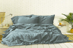 LAKE BLUE - 100% PURE FRENCH LINEN BEDSHEET.