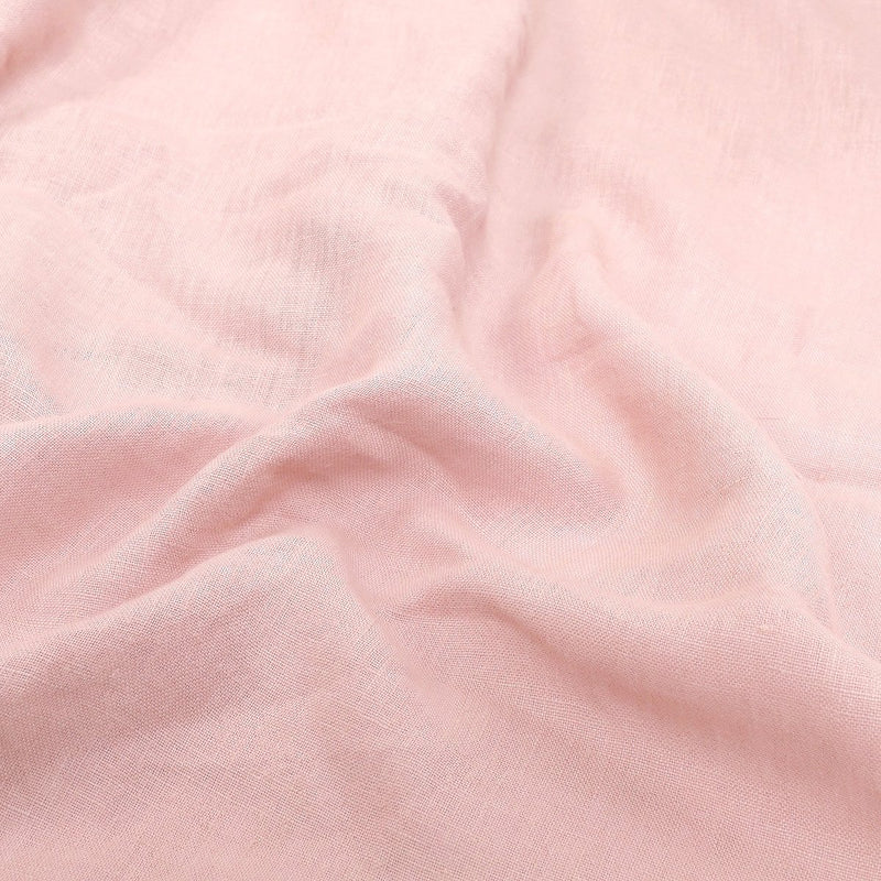 Rosé Stone-Washed Linen Duvet Cover With Pillows.
