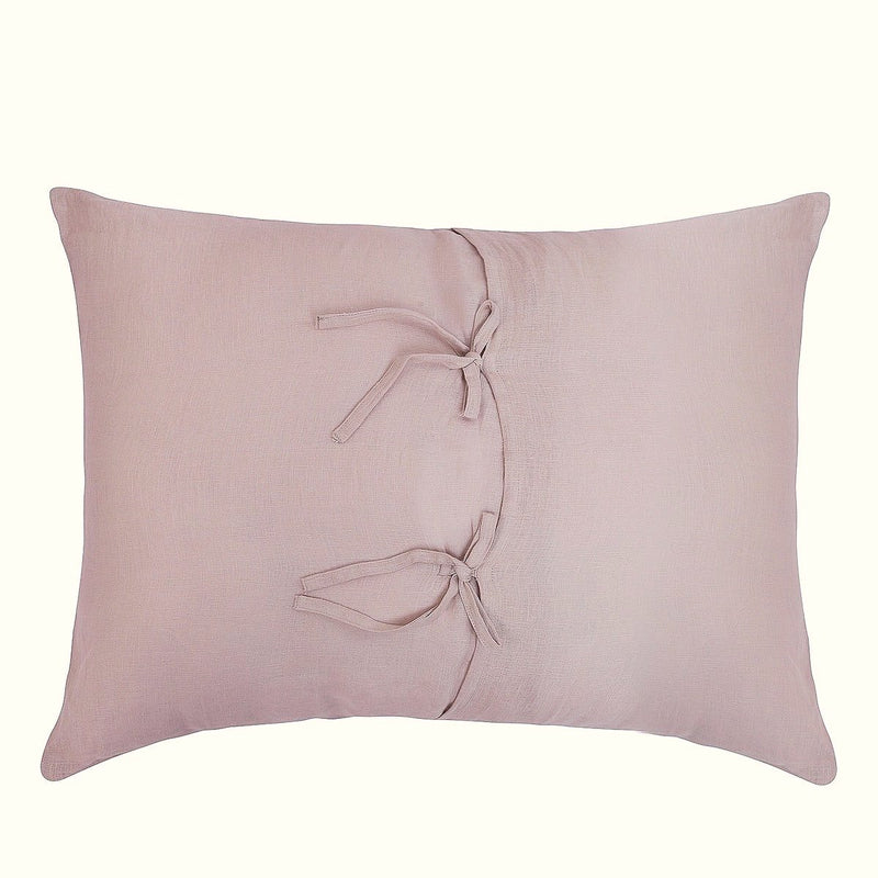 CHAMPAGNE BLUSH LINEN BEDDING SET.