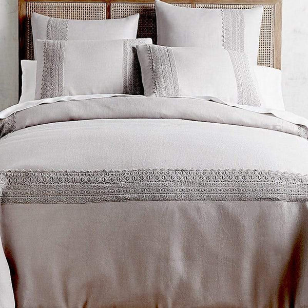 LACED DREAMS LINEN DUVET Set WIth Pillows IN GREY.