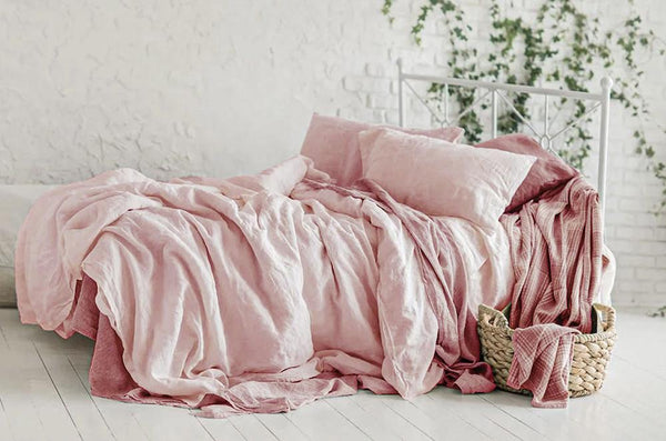 Rosé - STONE WASHED LINEN SHEETS.