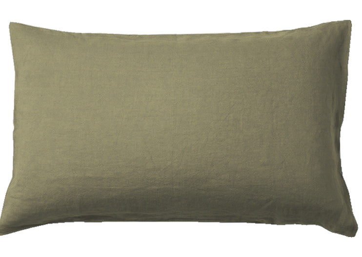 OLIVE - 100% PURE FRENCH LINEN SHEET SET.