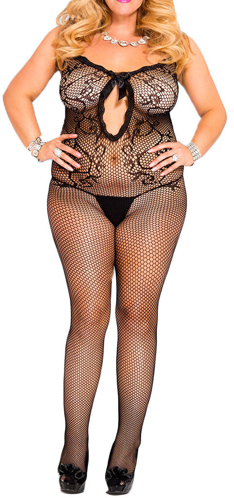 made2envy Sexy Large Net Front Key Hole Plus Size Bodystocking