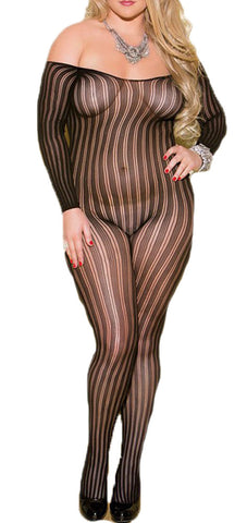 made2envy Vertical Stripes Long Sleeves Bodystoking