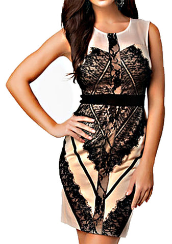made2envy Contrast Lace Eyelash Bodycon Sleeveless Mini Dress