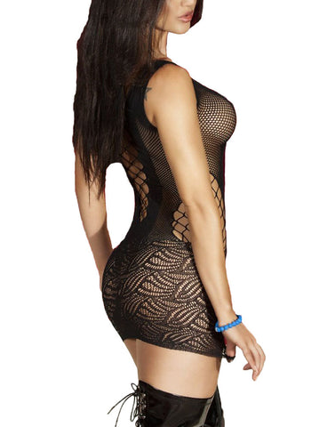 made2envy Crotchet Mesh Hollow Out Mini Chemise Dress