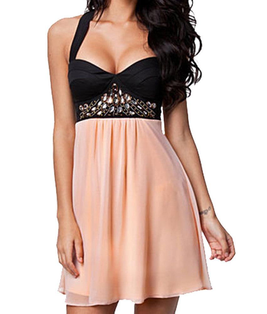 made2envy Sweetheart Neckline Rhinestone Decoration Chiffon Skater Dress