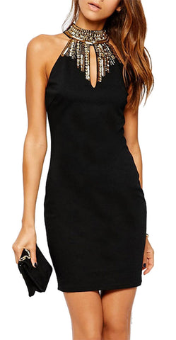 made2envy  Halter Jeweled Neckline Bodycon Mini Dress