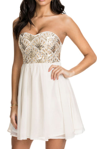 made2envy Sequin Flower Bandeau Chiffon Skater Dress