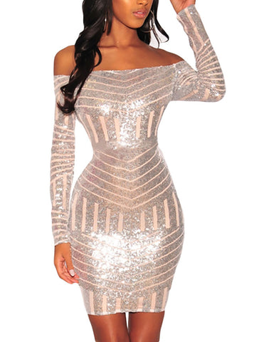 made2envy Sequins Nude Mesh Off Shoulder Long Sleeves Dress