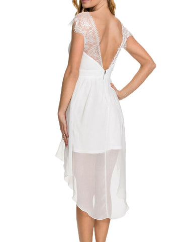 made2envy Tara Lace Chiffon Open Back Asymmetric Dress