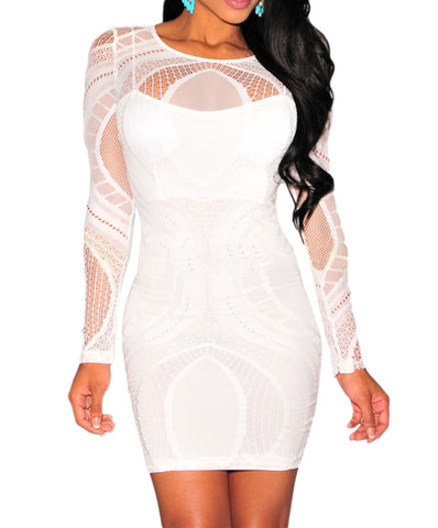 made2envy  Keisha Lace Nude Illusion Long Sleeves Bodycon Dress