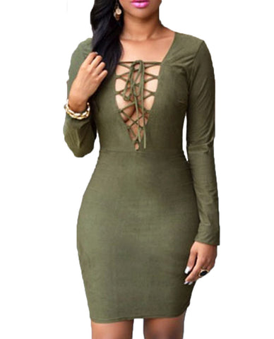 made2envy Lace Up Bust Faux Suede Bodycon Long Sleeves Dress