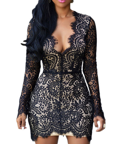 made2envy Deep V Neck Lace Nude Illusion Mini Dress