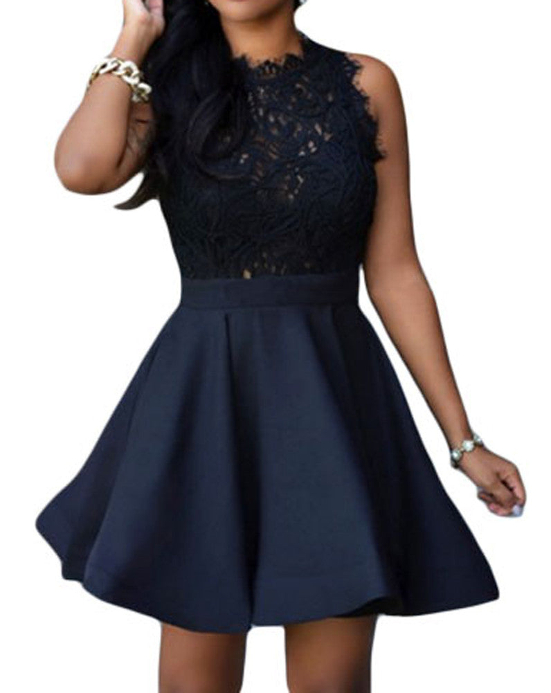 made2envy Lace Top Sleeveless Skater Dress