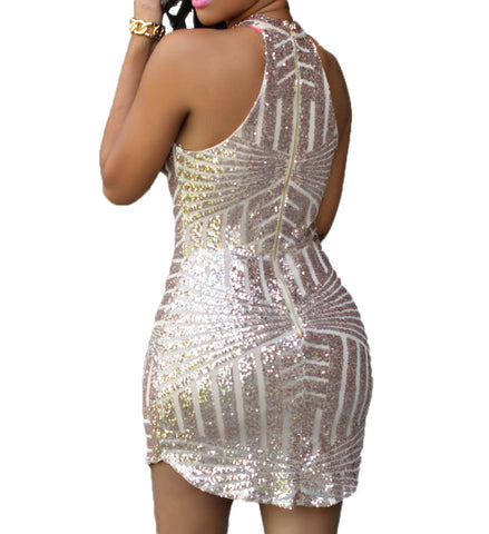 made2envy Sparkling Sequin Halter Sleeveless Mini Dress